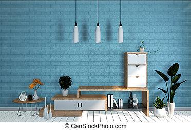 Tv Mockup room mint blue wall in japanese living room. 3d rendering