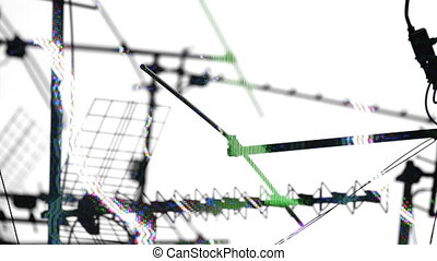 tv, model, abstract, rooftops, antennes, satellieten