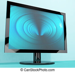 TV Monitor With Blue Vortex Picture Representing High Definition Television Or HDTVs