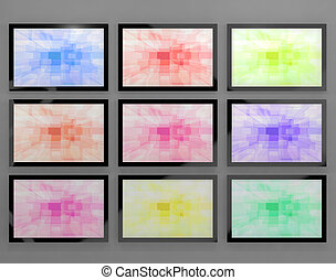 TV Monitors Wall Mounted In Different Colors Representing High Definition Televisions Or HDTV