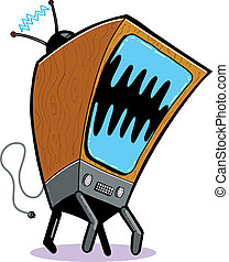 TV Monster cartoon. Vector format, fully editable.