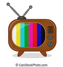 tv, multi-coloré, retro, raies