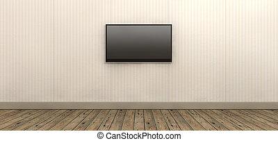tv, mur, écran, papier, monté