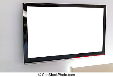 tv, mur, écran