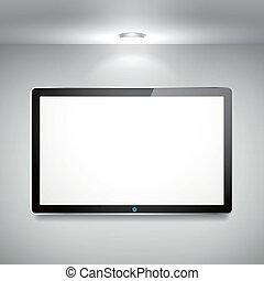 tv, mur blanc, lcd, vecteur, pendre