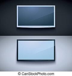 tv, mur, mené, pendre