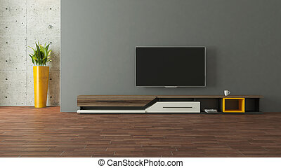 tv, mur, moderne, conception, stand