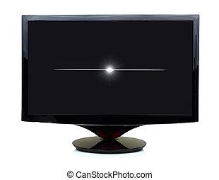 tv, nero, mostra, isolato, girato, 3d, via bianco