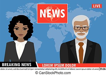 TV news anchors reporting breaking news, Man and woman news anchors,