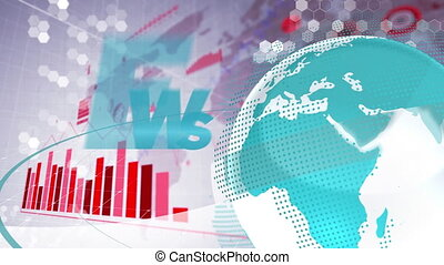 Animation of text News, spinning globe, coronavirus Covid 19 cells, digital interface with graphs and statistics. Global coronavirus pandemic concept digitally generated image.