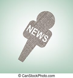 TV news microphone sign illustration. Vector. Brown flax icon on green background with light spot at the center.