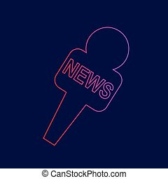 TV news microphone sign illustration. Vector. Line icon with gradient from red to violet colors on dark blue background.