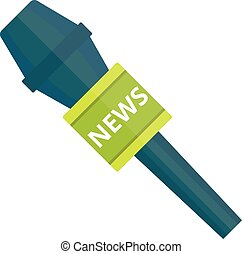 TV news microphone with blank box isolated on a white ...