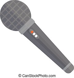 TV news or event microphone with blank box isolated on a ...
