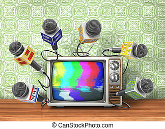 Tv news or reportage concept. A lot of microphones from different channel due to old TV on a wallpaper background. Microphones and television. 3d illustration