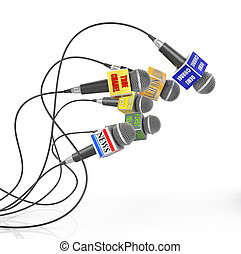 Tv news or reportage concept. A lot of microphones from different channel. Flock of microphones. 3d illustration