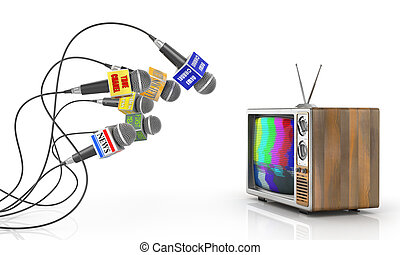 Tv news or reportage concept. A lot of microphones from different channel interview at the old TV. Microphones and television. 3d illustration