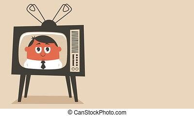 TV News - Looping animation of retro television set...