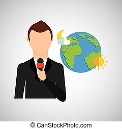 tv news weather reporter globe icon vector illustration eps...