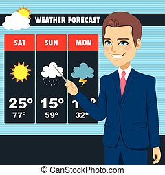 TV News Weather Reporter Man - Attractive young tv news...