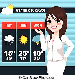 TV News Weather Reporter Woman