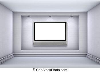 tv, niche, lege, tentoonstellen, schijnwerpers, interior., grijze , lcd, 3d