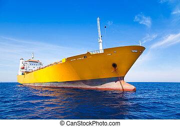 tv nieuws , lading, gele, scheepje, in, blauwe , zee