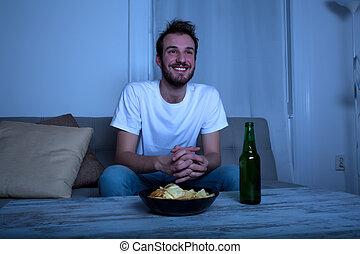 tv, nighttime, őrzés, fiatalember