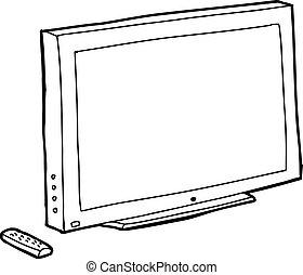 tv, noir, contour