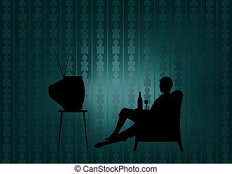 tv, nuit, regarder