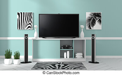 TV on cabinet in modern living room on blue wall background,3d rendering