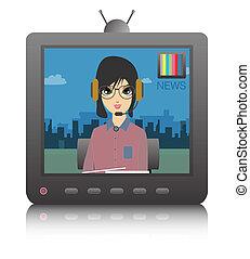 tv, on., gedraaide