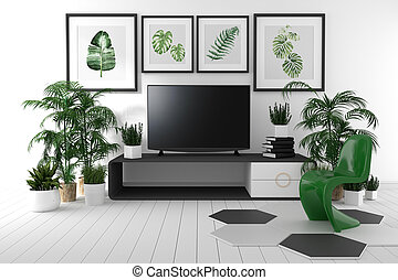 TV on the cabinet in tropical living room on white wall background,3d rendering