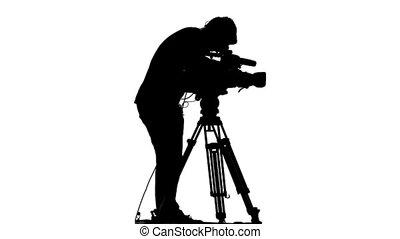 tv, opérateur, -, hd, silhouette.