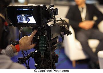 tv, opname, interview, studio