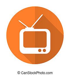 tv orange flat icon television sign