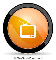 tv orange icon television sign