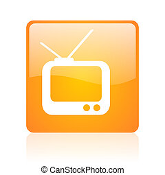 tv orange square glossy web icon