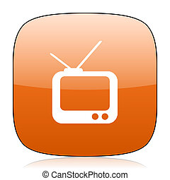 tv orange square web design glossy icon
