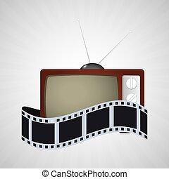 tv, ouderwetse , bioscoop, filmen wapenbalk