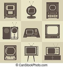 tv, ouderwetse , set, retro