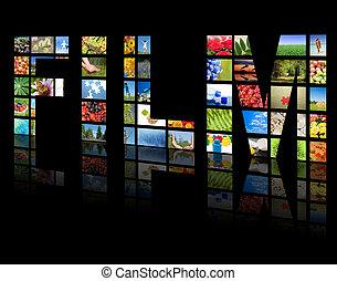 tv, panels., televízió, termelés, technológia, fogalom