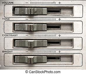 tv, panneau, contrôle, analogue