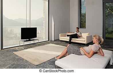 tv, par, jogo, felicidade, observar