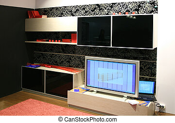 tv, parede, caderno, mobília