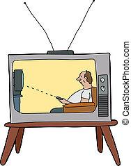 tv, paresseux, homme, regarder