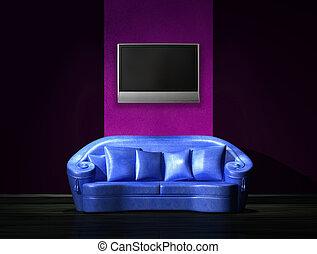 tv, parete blu, divano, lcd, minimalista, interno