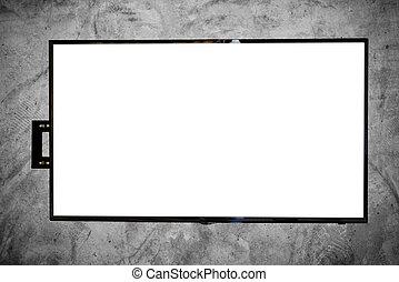 tv, parete, condotto, concreto
