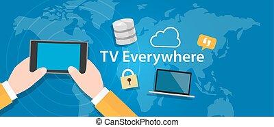 tv, parte, relógio, televisão, ligado, móvel, dispositivo