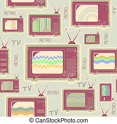 tv, pattern., textura, antigas, seamless, fundo, vindima